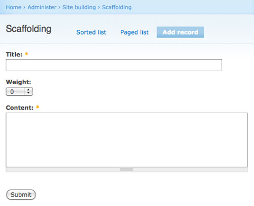 Example Module Scaffolding Example Admin Page