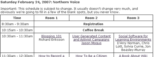 Northern Voice Schedule Grid Screen Shot
